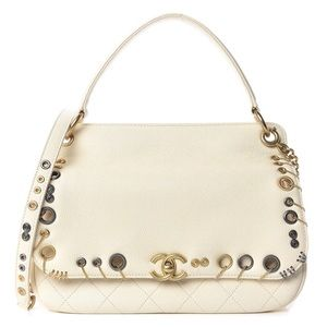 {CHANEL} RARE Caviar Embellished Piercing Flap Bag